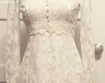 70s vintage lace wedding dress, new vintage condition