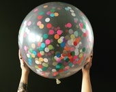 Clear 36 inch Round Confetti Party Balloon / baby shower decorations / confetti balloons / gender reveal balloons / rainbow decorations /