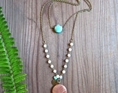 Orange and Turquoise Gemstone Double Layer Necklace