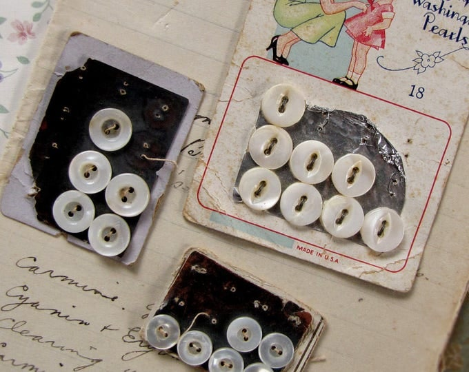 antique mother of pearl buttons in their original cards - 1920s 1930s