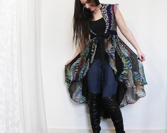 RESERVED upcycled clothing, high low day robe, vest . northern lights . XS - S