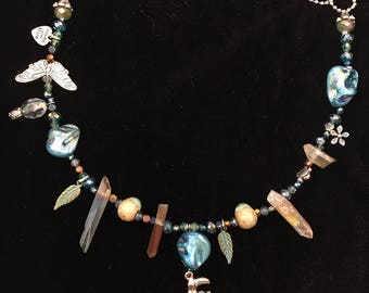 Tropical Toucan Charm Necklace w Glass Crystal Beads #15