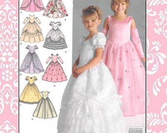 BEST PRINCESS GOWNS- Designer Sewing Pattern-Eight Lovely Styles-Sweetheart Neckline-Ruffles-Frills-Overskirts-Gauntlets-Uncut-Size 3-6-Rare