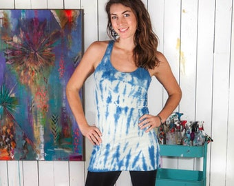 Indigo Shibori -  Stretch Hemp and Organic Cotton Tie-dyed Racerback