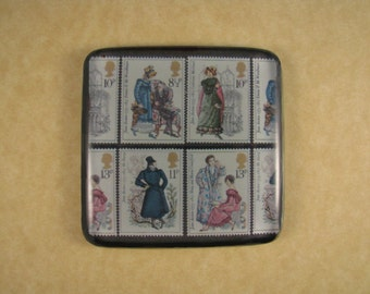English Jane Austen Costume Stamps Square Decoupage Glass Tile Paperweight Regency Home Decor