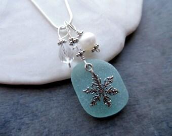 Sea Glass Necklace - Aqua Blue Beach Seaglass Snowflake Jewelry