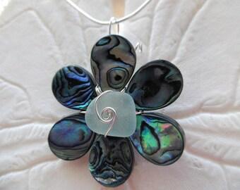 Aqua Sea Glass Necklace - Abalone Shell Flower Pendant Jewelry Beach