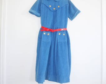 Vintage Blue Corduroy Girl's Dress