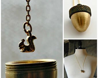 Acorn Locket Necklace Acorns Canister Squirrel Inside Moveable Jewelry Unique Locket Acorn Caps Woodland Jewelry Tiny Charm Jewelry Unique