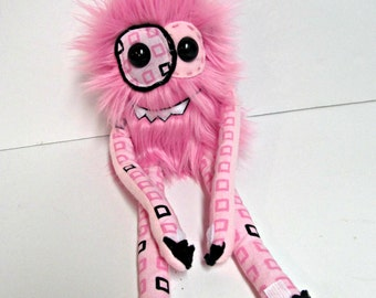 Pink Plush Monster - Handmade Happy Monster Plush - Cute Monster Toy - Faux Fur Monster - Hand Embroidered Soft Monster Toy - Weird Plush