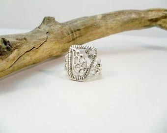 Silver Ring, Crystal Angel Wing Ring, Stretch Band Ring, Handmade Ring, Women's Jewelry, Stretch Band Ring
