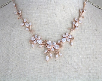 Rose gold Bridal necklace, Wedding jewelry set, Crystal Bridal earrings, Bridesmaid jewelry, Rose gold earrings, Bridal jewelry, Swarovski