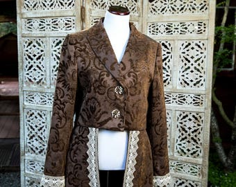 Brown Brocade Coat with Vintage Lace