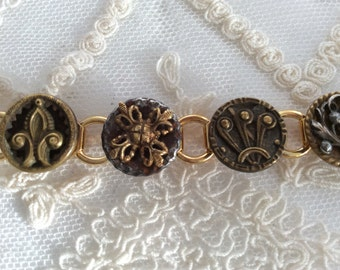 Beauties From The Past! Victorian Steel Cut Button Bracelet full of shimmering beauty!
