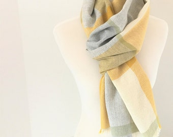"Cashmere Scarf  Yellow white Light Gray 20"" x 80"" Handwoven with Sage Green"