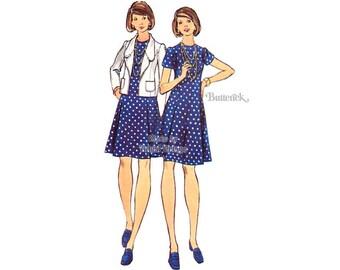 70s Princess Seam Dress Pattern Butterick 3037 Jacket & Jewel Neck Dress Vintage Sewing Patterns, Bust 36, Uncut