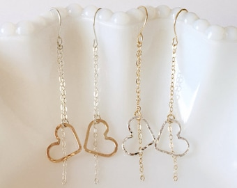 Mixed Metal Open Heart Earrings / Dainty Jewelry / Valentines Day Gift / Gifts for Her / Love / Sterling Silver or 14k Gold Filled