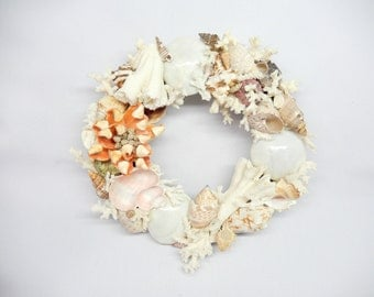 vintage shell wreath, 9 inches, beach nautical wall decor wall hanging sea shells