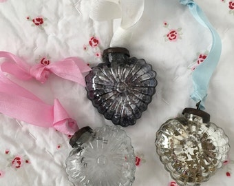 3 Shabby Chic Vintage Inspired Up-cycled Kugel Christmas Mercury Glass Heart Ornaments SET B