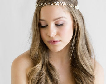 DAWN | pearl and crystal bridal halo, boho bridal headpiece