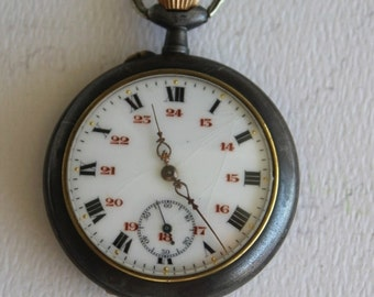 Vintage Swiss Military Dial Pocket Watch in Gun Bluing Case by avintageobsession on etsy...FREE USA Shipping