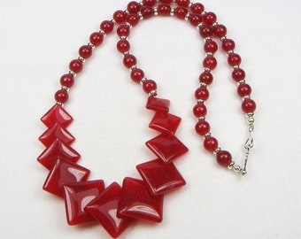 Red Agate Sterling Silver Necklace - Beaded Necklace - Genuine Gemstone - Gift