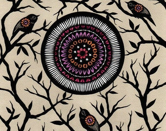 Lilac Moon - ORIGINAL Paper Cutting | Bird Mandala Art