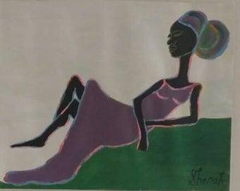 black woman art,african american art, black woman art,afrikkan art, black woman paintings, wall decor, wall art, womans room, purple dress