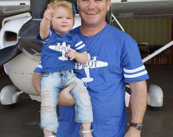 Featured listing image: Pilot and Co-pilot. Pilot co-pilot shirt set.  Pilot shirt. Co-pilot shirt. Daddy and me shirts. Fathers Day gift. Matching shirts.