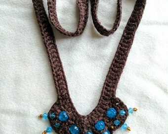 Fabulous Metallic Chocolate Brown Yarn Necklace Crocheted with Blue Glass Beads