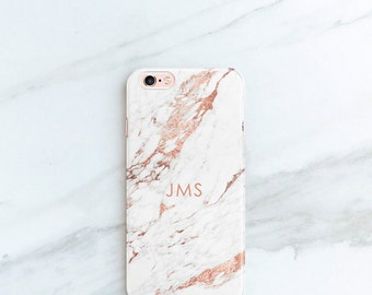 Rose Marble Phone Case Personalized Gift for Her, Sister, Mom, iPhone 7, 6S, SE, Plus Case Custom Phone Cases Gift Ideas for Blogger