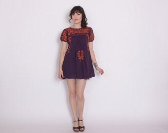 Vintage 70s OAXACAN DRESS / 1970s Embroidered Purple & Burnt Orange Boho MEXICAN Festival Mini Dress