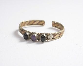 Vintage 70s Boho Bracelet / 1970s Tribal Silver & Copper Purple Stone Cuff