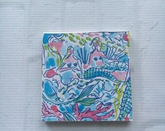 Preppy Drink Coaster, Beach Coaster, Blue Boho Coaster, Preppy Inspired Coaster, Drink Coaster, Colorful Coaster, Preppy Barware