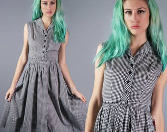 50s Cotton Gingham Dress Black and White Plaid Dress 1950s Day Dress Summer Dress Monogrammed Back