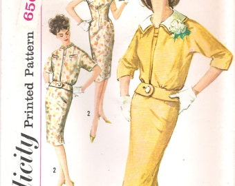 Simplicity 3361 UNCUT 1960s Mad Men Wiggle Dress Vintage Sewing Pattern Bust 32 or 36 Rounded Collar Short Jacket with Peplum