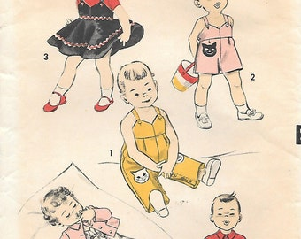 Advance 8303 1950s Toddler Overall Jumper and Jacket Vintage Sewing Pattern