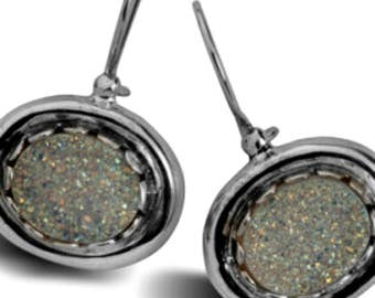 Earrings Sterling silver Druze Druzy stone  Dangling Designer Israeli jewelry
