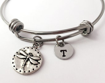 Firefly Charm Bangle Bracelet. Dragonfly bracelet. Dragonfly bangle. Firefly Bracelet. Friendship bracelet. Best friend gift.