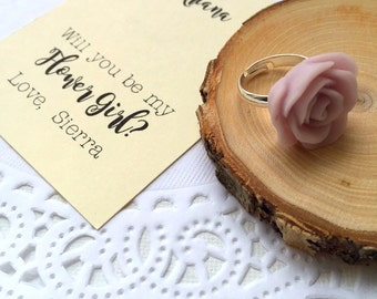 Flower girl proposal ring, ask Flower girl, rose ring, rose jewelry.