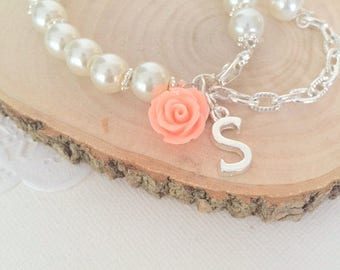 Child bracelet, adjustable bracelet, ivory pearl, flower girl, flowergirl, rose, flower, personalized initial bracelet.