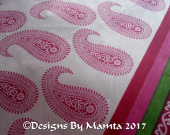 Pink Block Print Saree Fabric, Sari Fabric, Paisley Print Fabric, Indian Cotton Fabric, Indian Block Print Fabric, Sari Fabric By The Yard