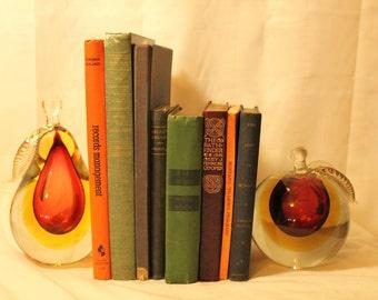 Vintage Alfredo Barbini Murano Glass Bookends, Apple & Pear