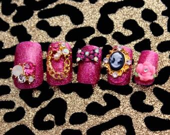 3D Elegant Princess Press On Nails | Prom Fake Nails | Lolita Cosplay Kawaii Press On Nails | Shibuya Gyaru Hime Diva Nails from Japan