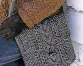INSTANT DOWNLOAD PDF Knitting Pattern  Moss Stitch and Cable Shoulder Bag  Seed Stitch Tweed Messenger Bag Satchel