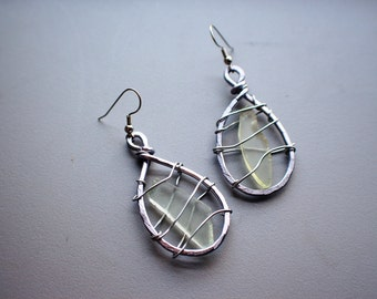 Silver Anodized Aluminum Hammered Light Pastel Green Sea Foam Sea Glass, Large Leaf Wire Wrapped Earrings