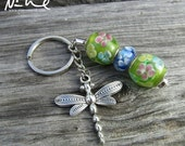 NEW YEAR CLEARANCE New Peridot Green Blue Glass Beaded Floral Dangling Dragonfly Keychain