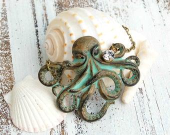 Octopus Necklace, Octopus Pendant, Sea Monster, Gothic Victorian, Ocean Creature, Nautical Pendant, Rustic Pirate