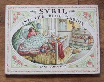Vintage 70s childrens picture book Sybil and the Blue Rabbit children boy girl