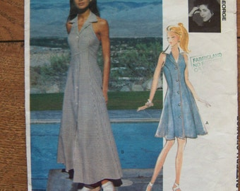 vintage 1993 vogue pattern 1168  misses halter dress sz 6-8-10 short version only